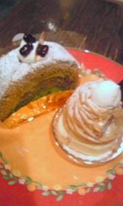 モンブランと抹茶ロールケーキ