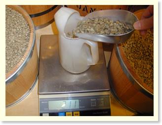 コーヒー豆の計量